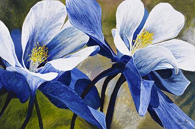 Poster featuring the painting Colorado Columbines by Aaron Spong
