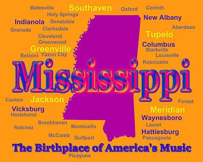 Colorful Mississippi State Pride Map Silhouette  Poster