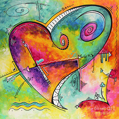 Colorful Whimsical Pop Art Style Heart Painting Unique Artwork By Megan Duncanson Poster