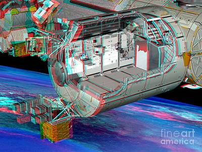 Columbus Iss Module, Stereo Image Poster by David Ducros