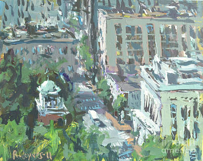 Poster featuring the painting Contemporary Richmond Virginia Cityscape Painting by Robert Joyner