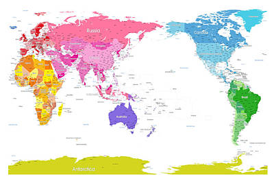 Continents World Map Poster