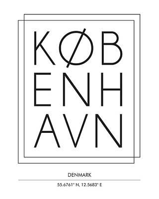 Copenhagen, Denmark - City Name Typography - Minimalist City Posters Poster
