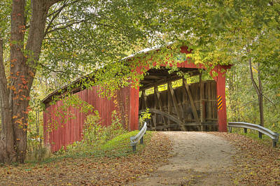 Cornstalk Covered Bridge Poster by Jack R Perry