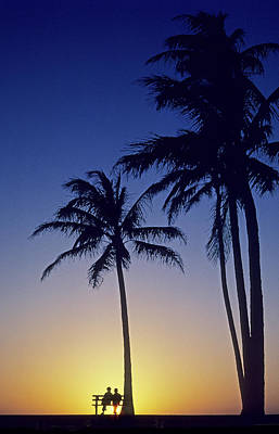 Couple And Sunset Palms Poster