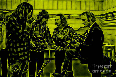 Crosby Stills Nash And Young Poster by Marvin Blaine
