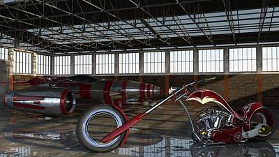 Poster featuring the photograph Custom Chopper  by Louis Ferreira