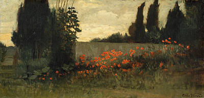Cypress And Poppies Poster by Elihu Vedder