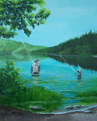 Dad And Son Fishing Poster
