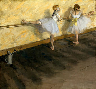 Dancers Practicing At The Bar Poster by Edgar Degas