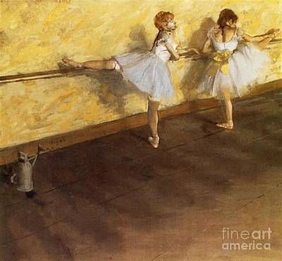 Dancers Practicing At The Barre Poster