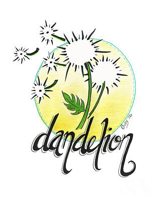Poster featuring the drawing Dandelion by Cindy Garber Iverson