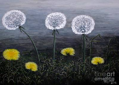 Poster featuring the painting Dandelion Family by Judy Kirouac