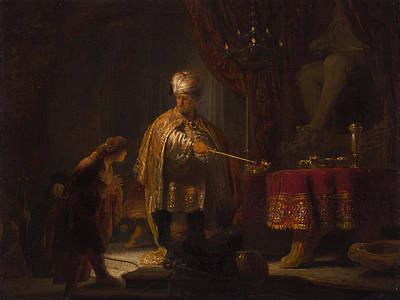 Daniel And Cyrus Before The Idol Bel Poster by Rembrandt van Rijn