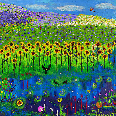 Poster featuring the painting Day And Night In A Sunflower Field  by Angela Annas
