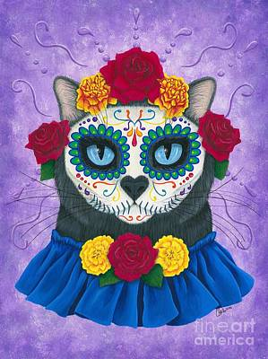 Poster featuring the painting Day Of The Dead Cat Gal - Sugar Skull Cat by Carrie Hawks