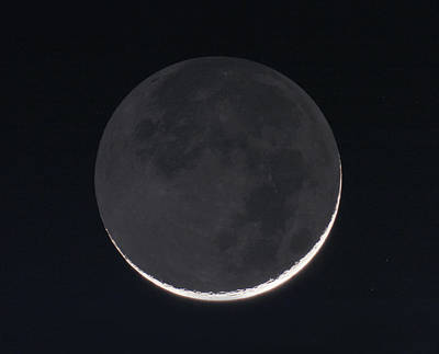 1 Day Old Moon With Earthshine Poster by Eckhard Slawik
