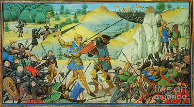 Death Of Roland At The Battle Poster by Photo Researchers