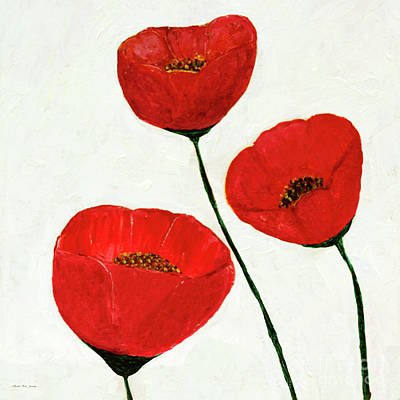 Poster featuring the painting Decorative Poppies Acrylic Painting C62017 by Mas Art Studio
