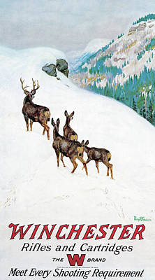 Poster featuring the painting Deer In Snow by Philip R Goodwin