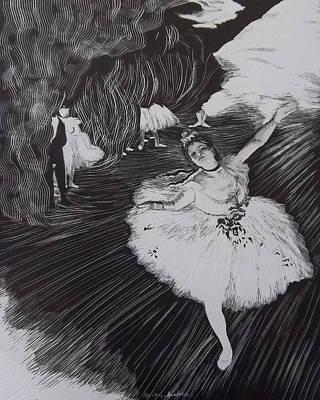 Degas' L'etoile In Scratchboard Poster