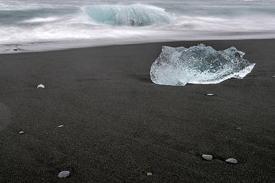 Diamonds Floating In Beaches, Iceland Poster