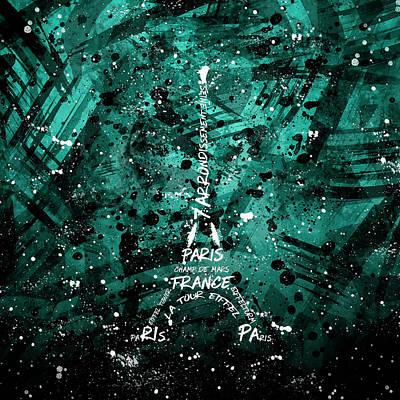 Digital Art Eiffel Tower - Cyan-green Poster