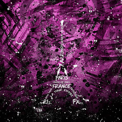 Digital Art Eiffel Tower - Pink Poster