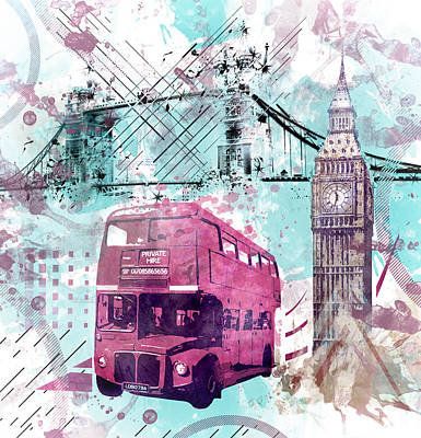 Digital-art London Composing  Poster by Melanie Viola