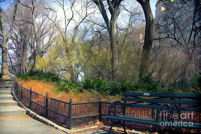 Digital Paint Central Park  Poster by Chuck Kuhn