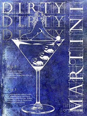 Dirty Dirty Martini Patent Blue Poster by Jon Neidert