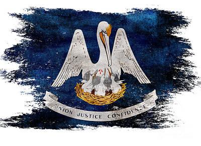 Distressed Louisiana Flag Poster