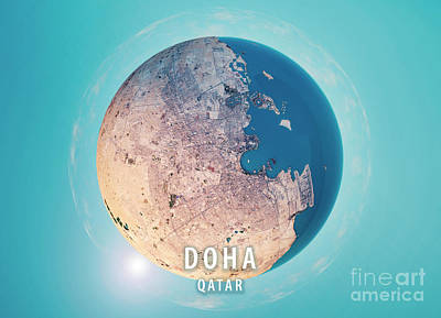 Doha 3d Little Planet 360-degree Sphere Panorama Poster