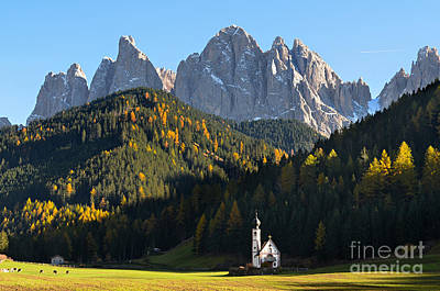 Dolomites Mountain Church Poster
