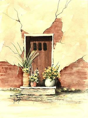 Door With Pots Poster