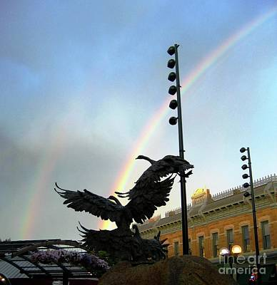 Double Rainbow Over Old Town Square Poster