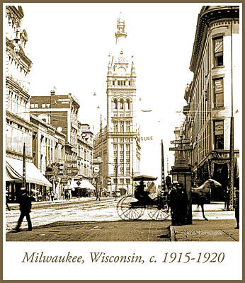 Downtown Milwaukee, C. 1915-1920, Vintage Photograph Poster