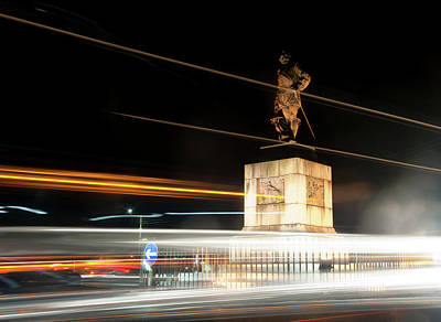 Drake's Statue Traffic Trails Iv Poster