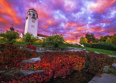Dramatic Autumn Sunrise At Boise Depot In Boise Idaho Poster by Vishwanath Bhat