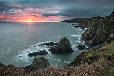 Dramatic Stormy Sunrise Landscape Over Bull Point In Devon Engla Poster by Matthew Gibson