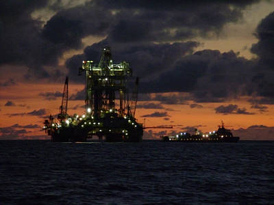 Drill Rig At Dusk Poster by Charles and Melisa Morrison