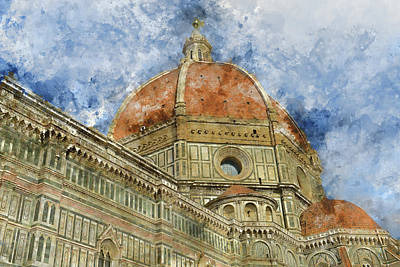 Duomo Santa Maria Del Fiore And Campanile. Florence, Italy Poster by Brandon Bourdages