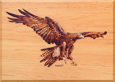 Poster featuring the pyrography Eagle by Ron Haist