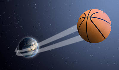 Earth With Ball Swoosh In Space Poster