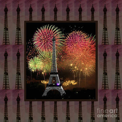 Effel Tower Paris France Landmark Photography Towels Pillows Curtains Tote Bags Poster