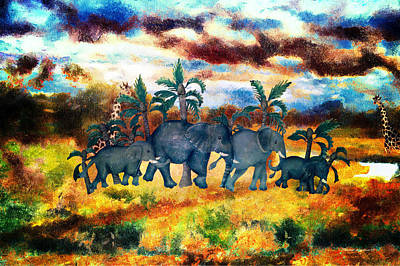 Elephant Family With Stormy Skies Textured Poster by Thomas Woolworth