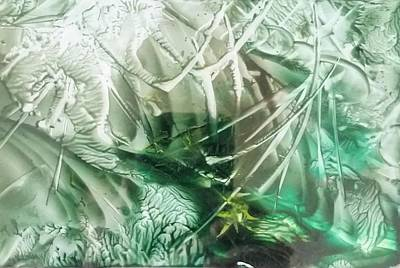 Encaustic Abstract Green Foliage Poster