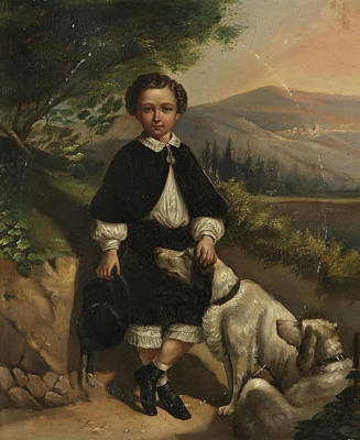 England Boy Portrait With Dogs Poster