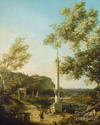English Landscape Capriccio With A Column Poster