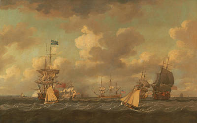 English Ships Coming To Anchor In A Fresh Breeze Poster by Dominic Serres